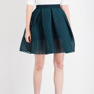 MAJE Juliette Pleated Embroidered Mesh Skirt